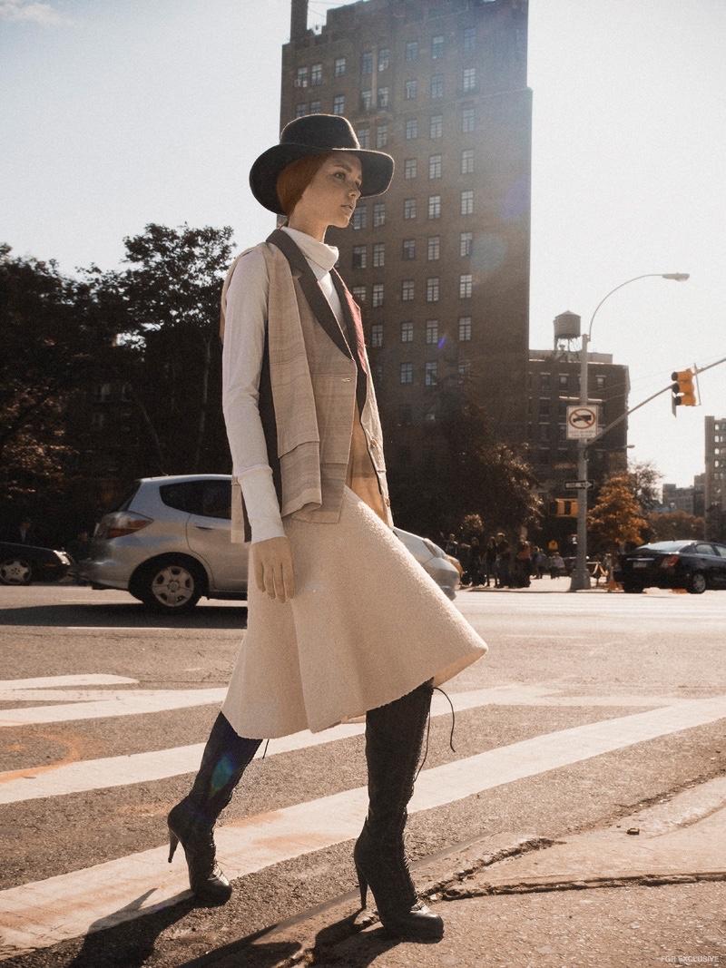 Shipper NYC Vest, Celine Dress (worn over) Theory Top, Miu Miu Boots, Alessandra Rivera Hats
