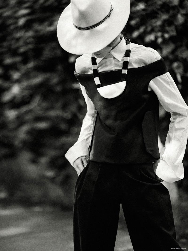 Celine Silk Top (worn over) Alaia Button Down Oxford, Alessandra Rivera Hat