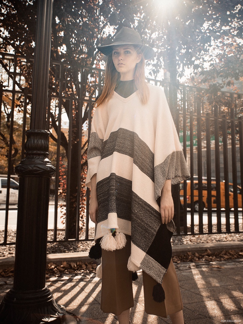 Apiece Apart Poncho, Theory Trouser, Burberry Boot, Alessandra Rivera Hat