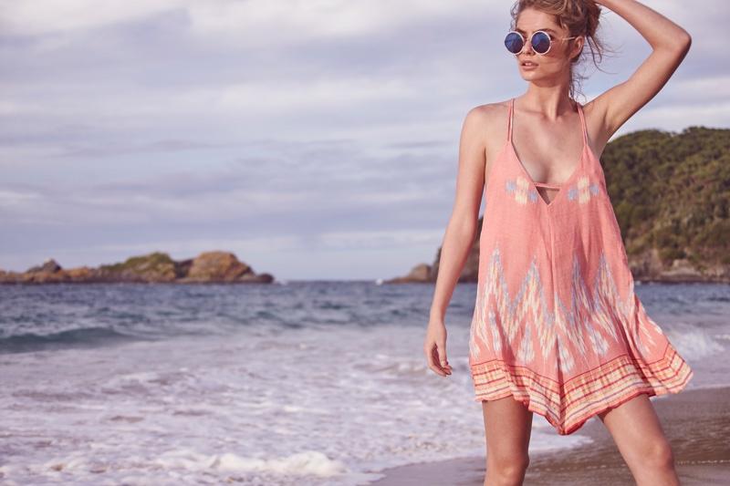 Model wears Cleobella Burma dress