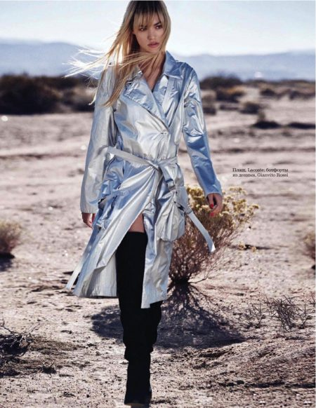 Cora Keegan Models the New Metallics for ELLE Russia Editorial