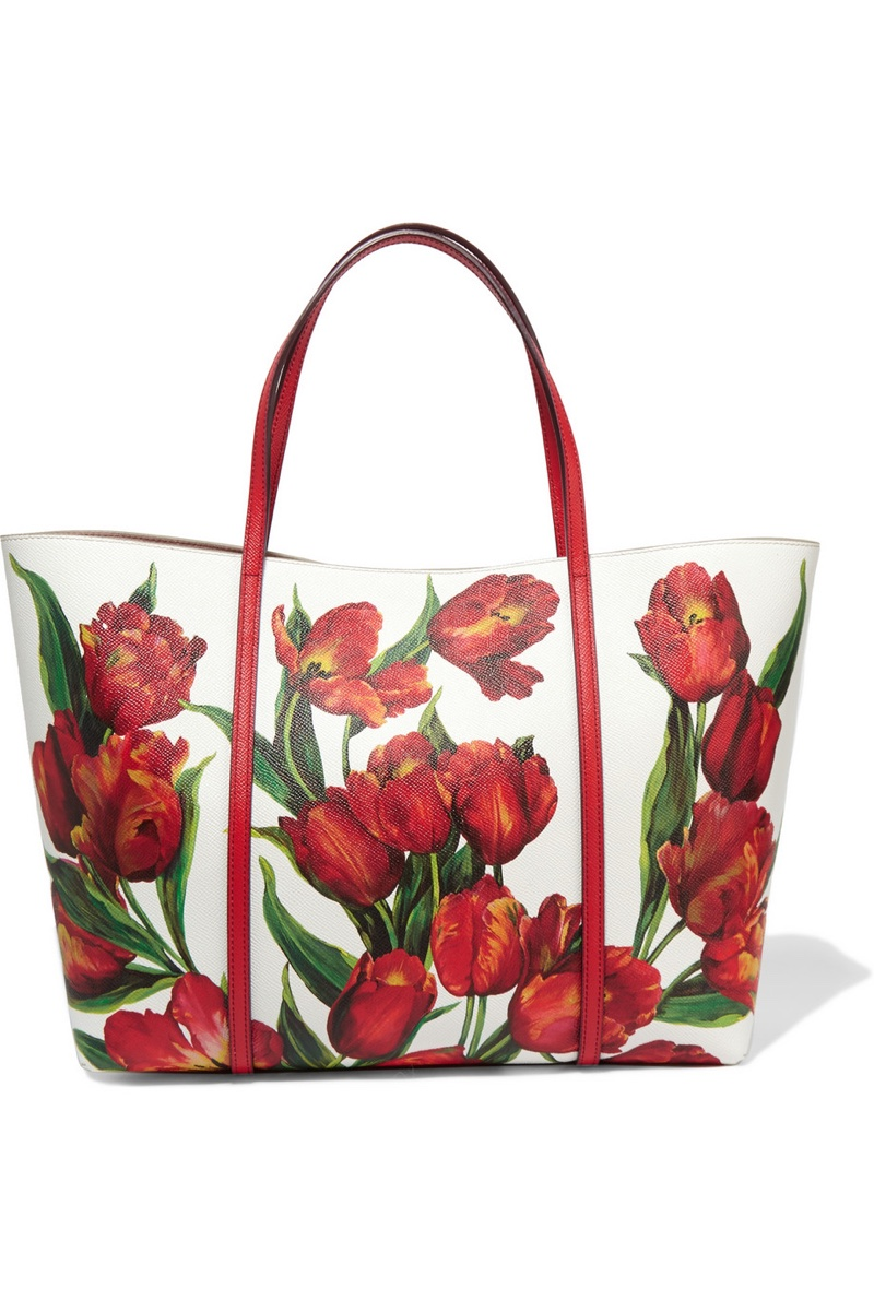 Dolce & Gabbana Dauphine Floral Print Textured Leather Tote