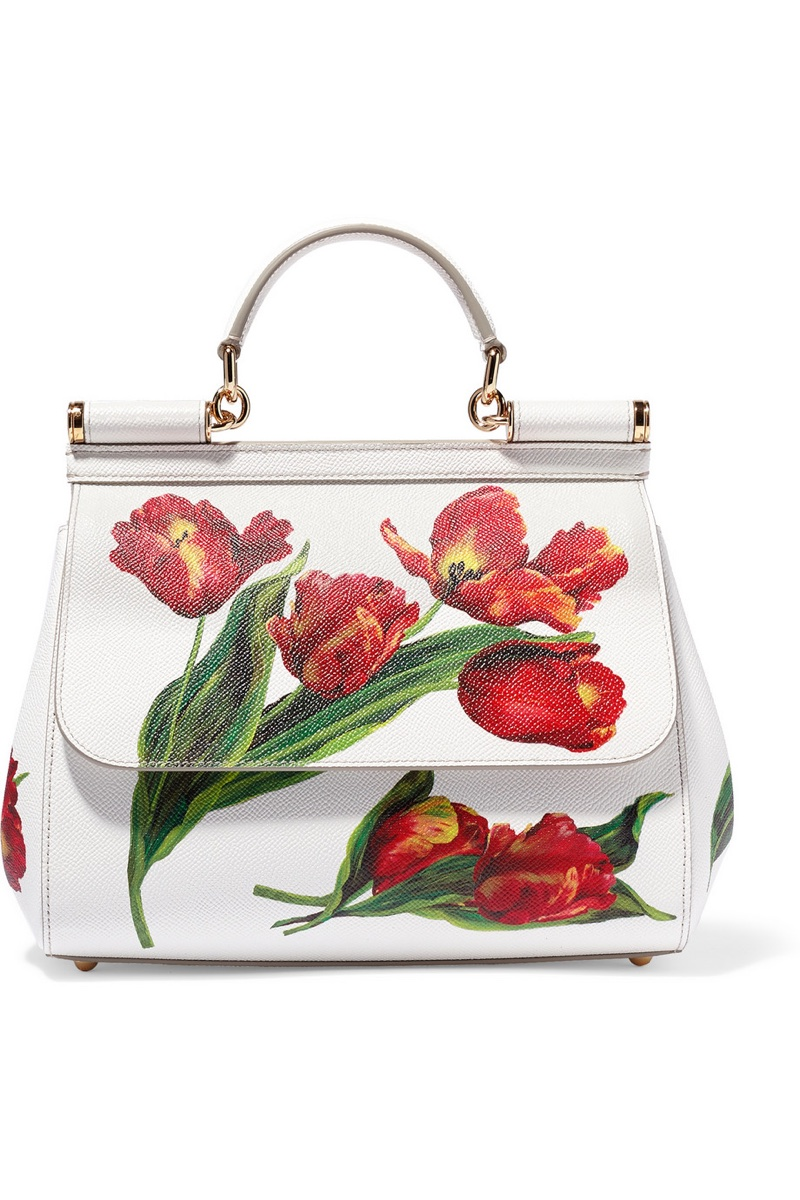 Dolce & Gabbana Sicily Medium Floral Print Textured Leather Tote