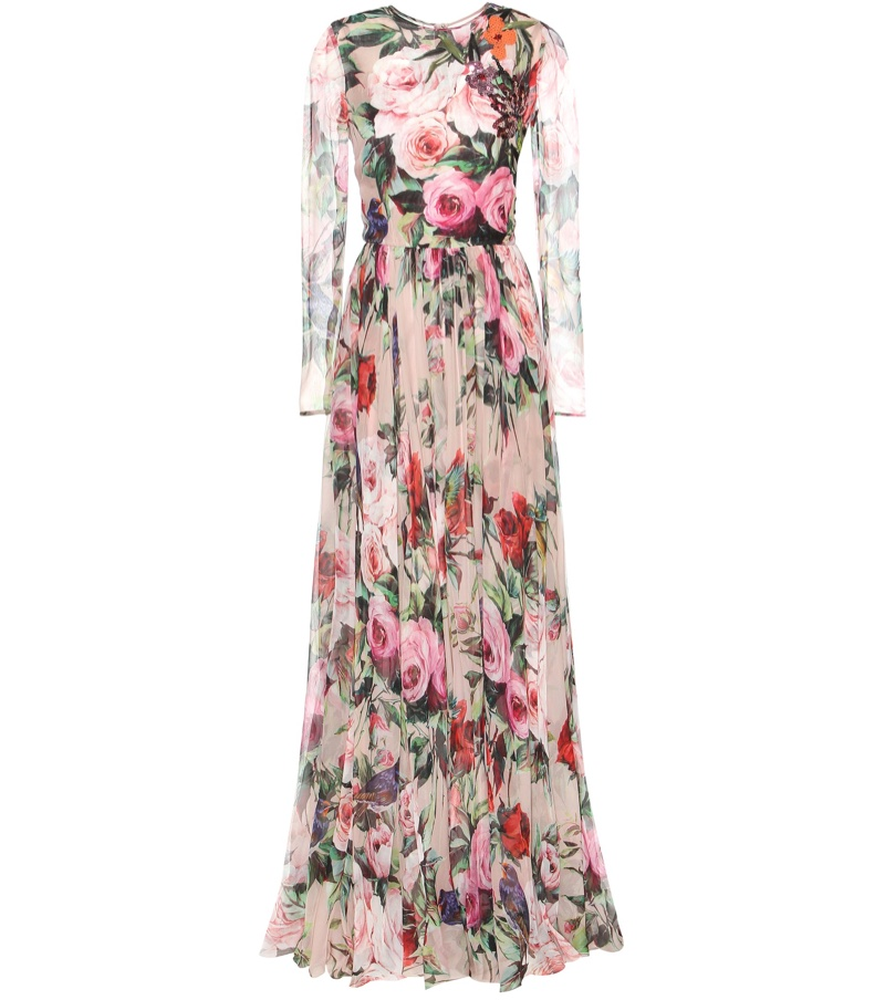 Dolce & Gabbana Pussy Bow Floral Print Gown $7,995