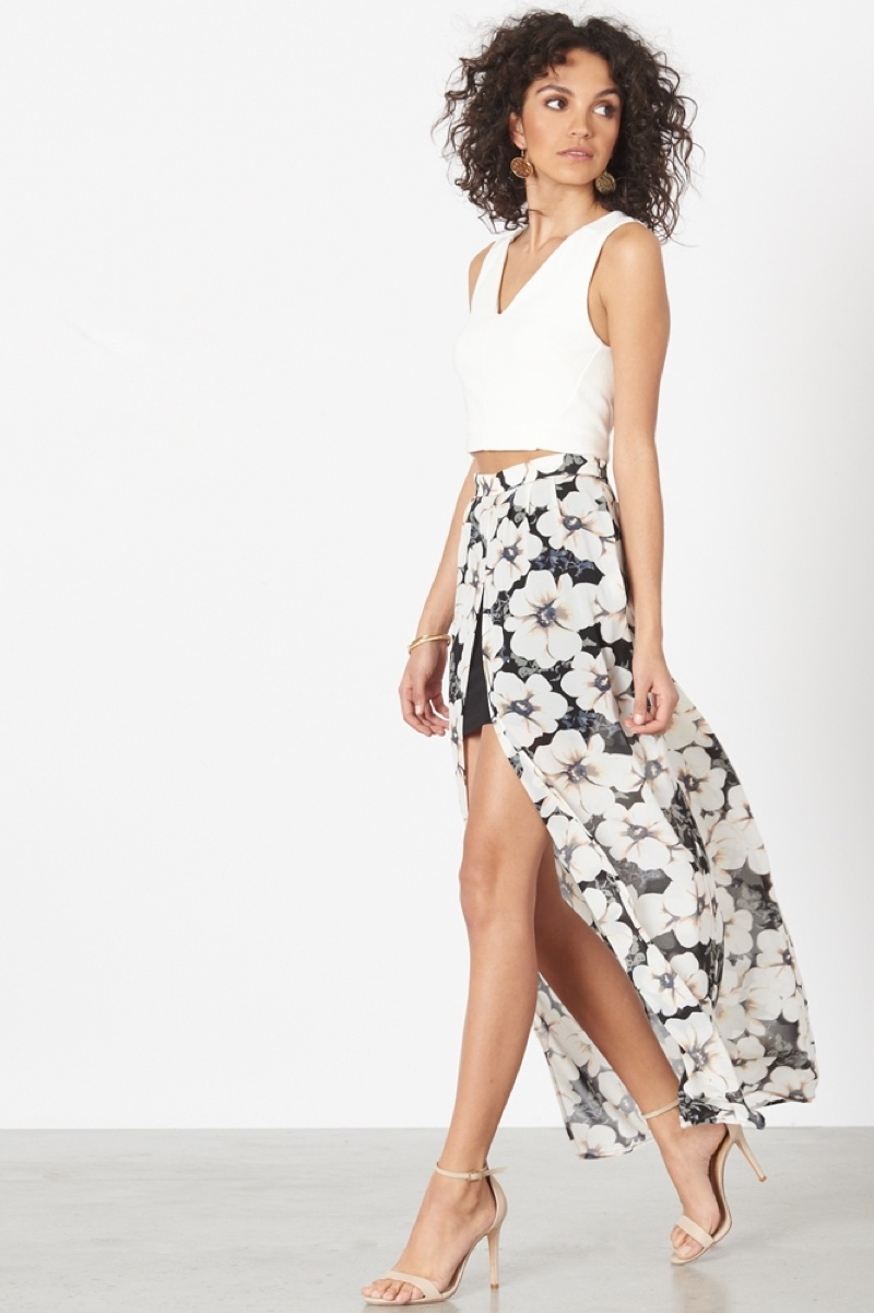 Dynamite Sheer Maxi Skirt with Front Slit