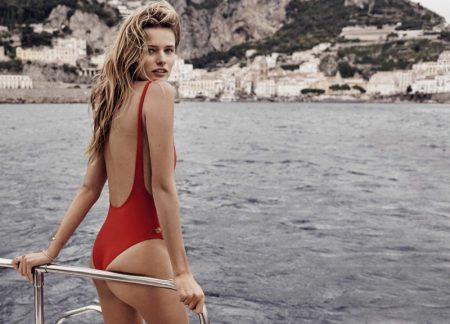 Edita Vilkeviciute looks red-hot in a Thapelo one-piece swimsuit