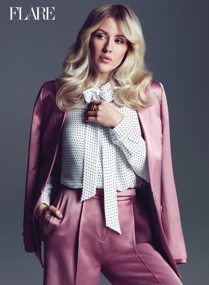 Ellie Goulding suits up in an Elizabeth and James pantsuit with Tibi shirt