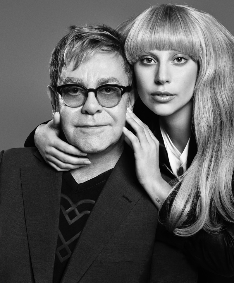 Love Bravery Elton John Lady Gaga Faces Satin Scarf  Bandana 18X18 inches NWT