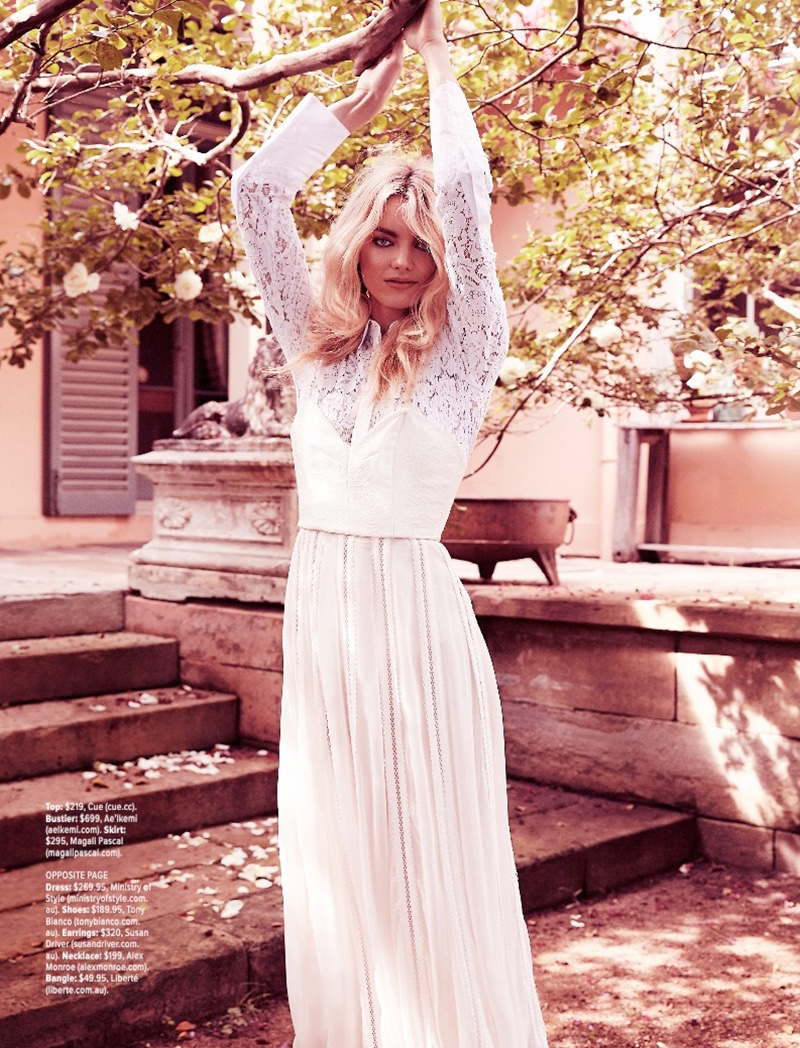 Elyse Taylor Looks Pretty in Lace for Cosmopolitan Australia