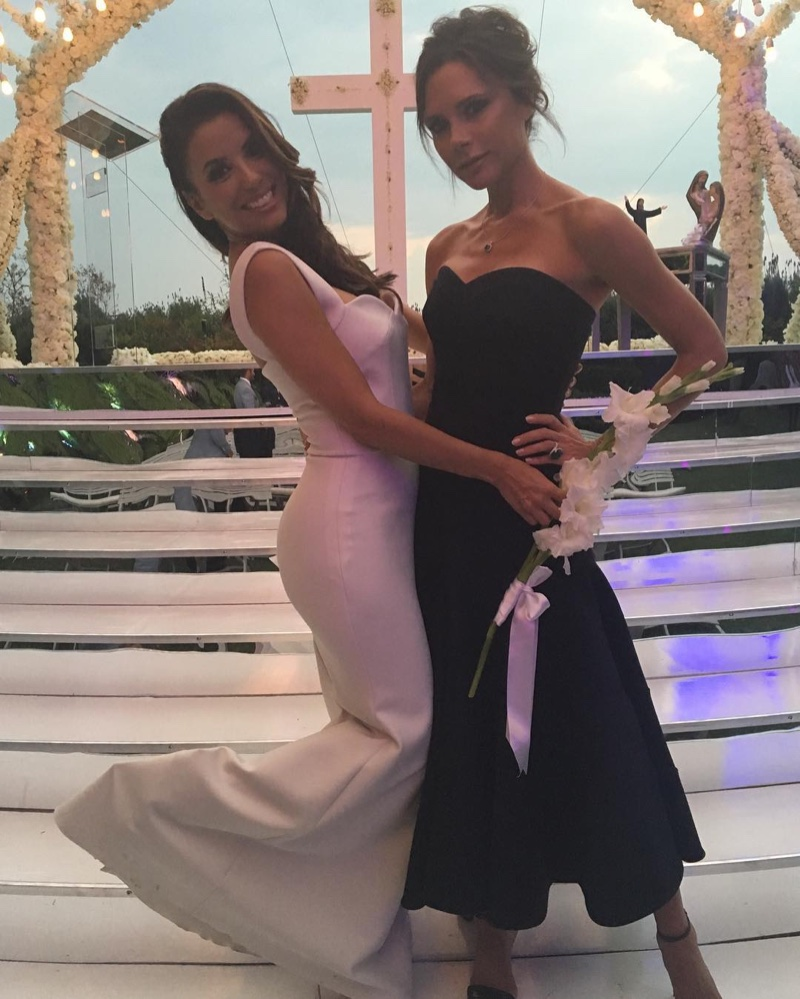 Eva Longoria poses with friend and designer Victoria Beckham in her wedding dress (also designed by Beckham). Photo: Instagram