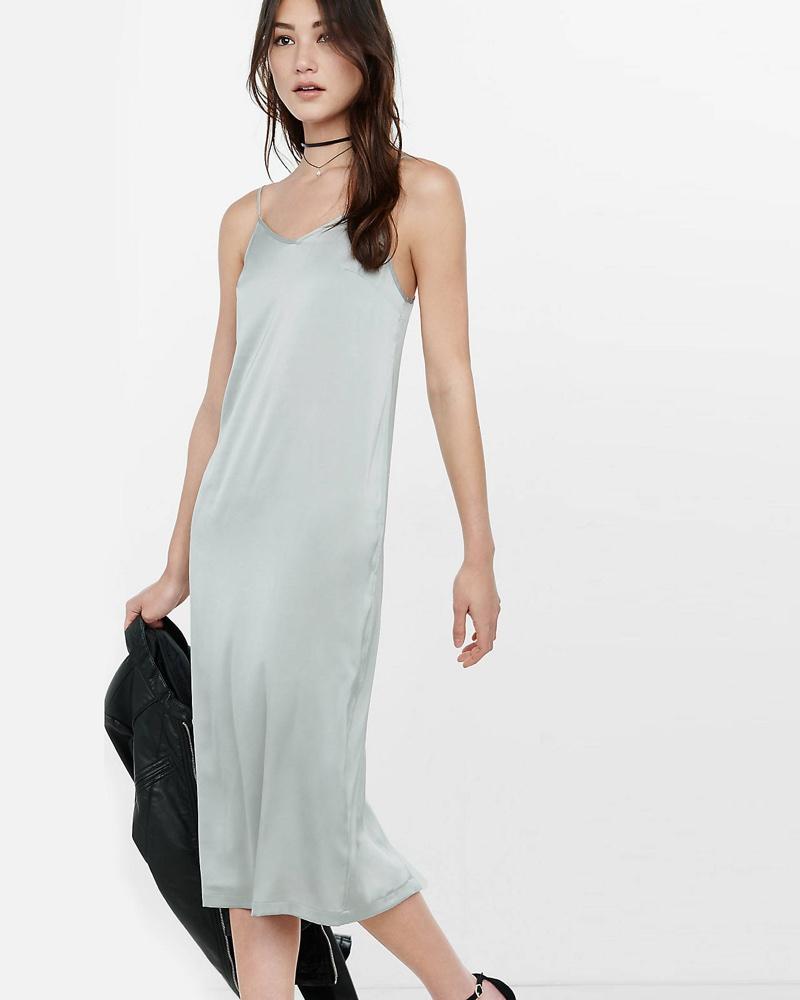 Express Silver Midi Slip Dress