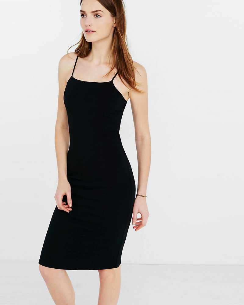 Express Stretch Cotton Slip Dress in Black