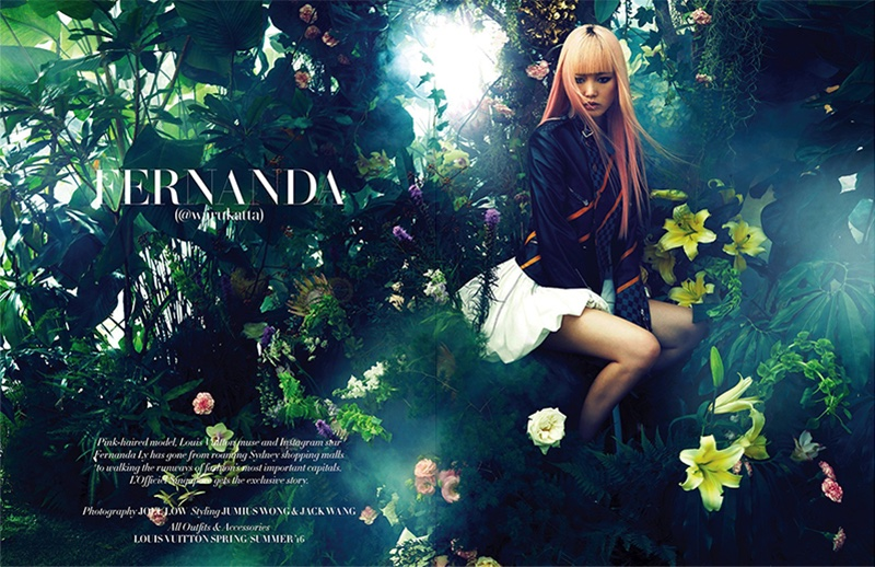 Photographed in a greenhouse garden setting, the pink-haired model wears Louis Vuitton