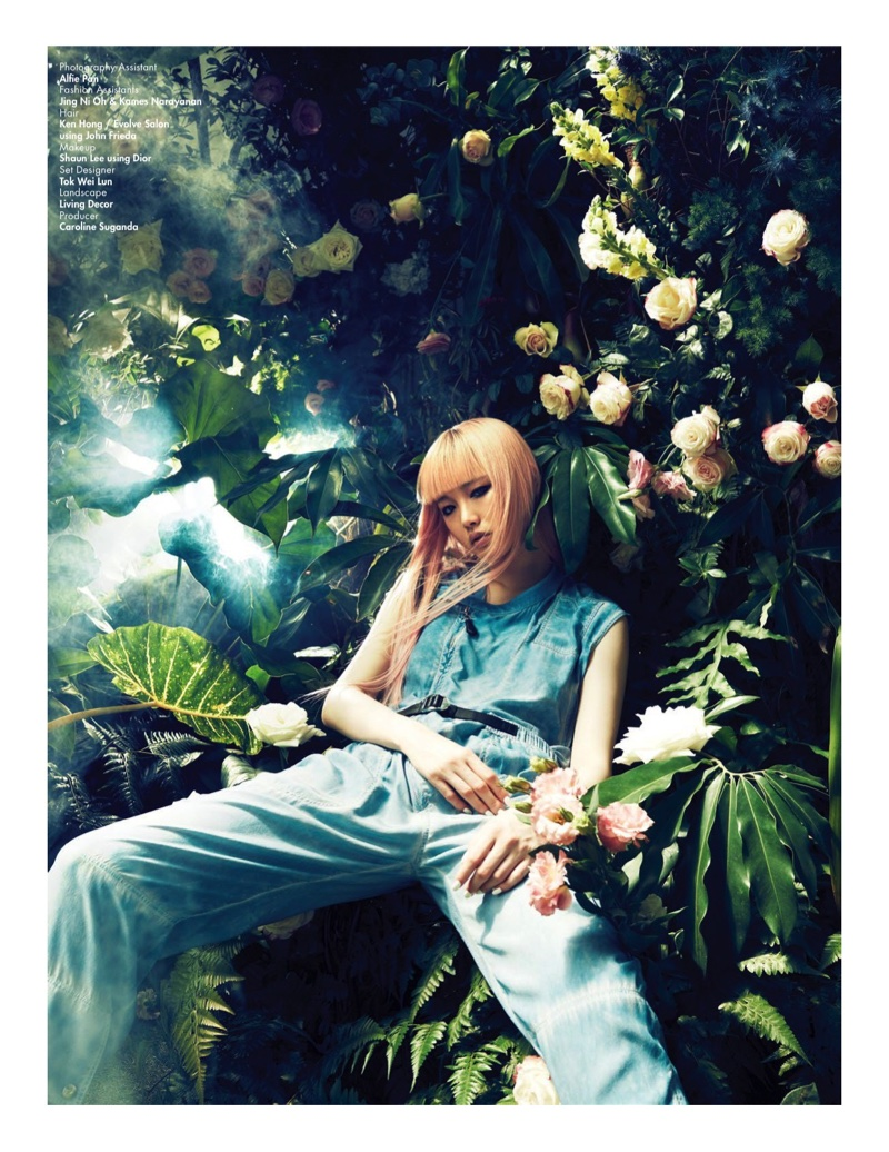 Fernanda Ly lounges in a jumpsuit from Louis Vuitton