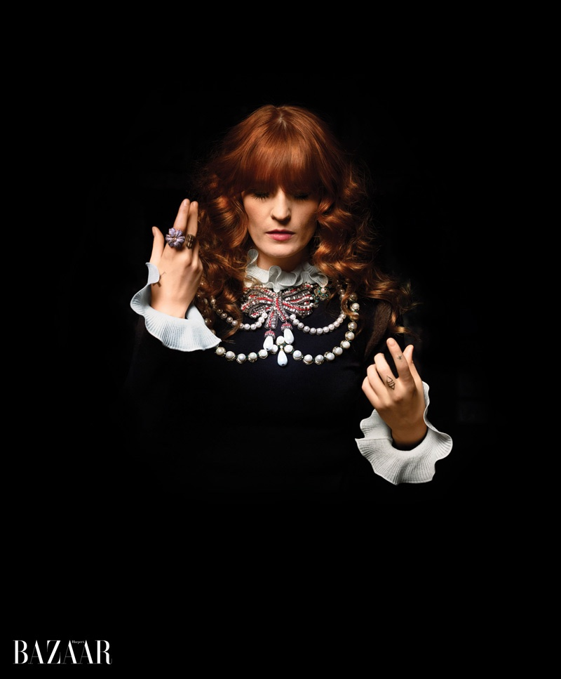 Florence Welch wears a Gucci top with bejeweled neckline and Gucci Fine Jewelry ring
