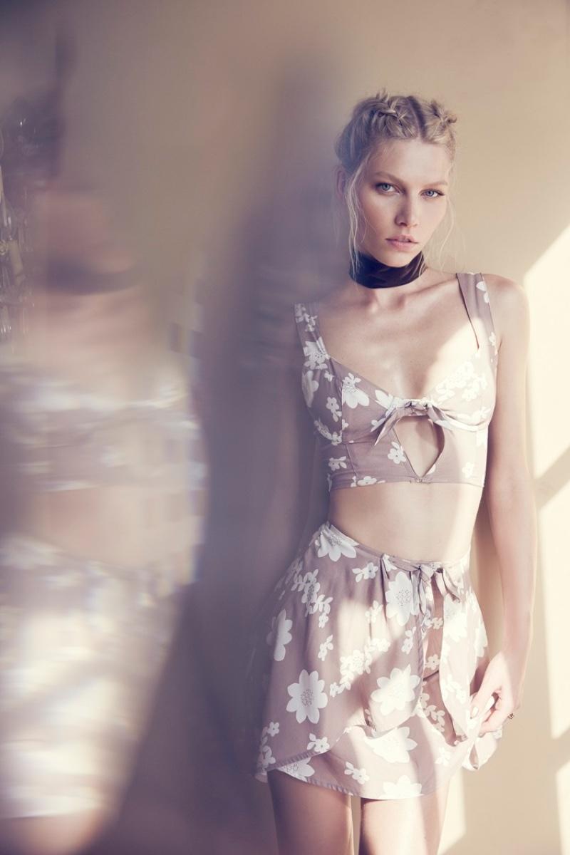 Aline Weber poses in For Love & Lemons Sweet Jane Top and Wrap Skirt