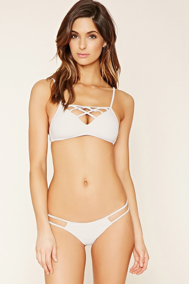 797d437bd5c23 Forever 21 Caged Front Bralette Bikini Top and Cutout Cheeky Bikini Bottoms