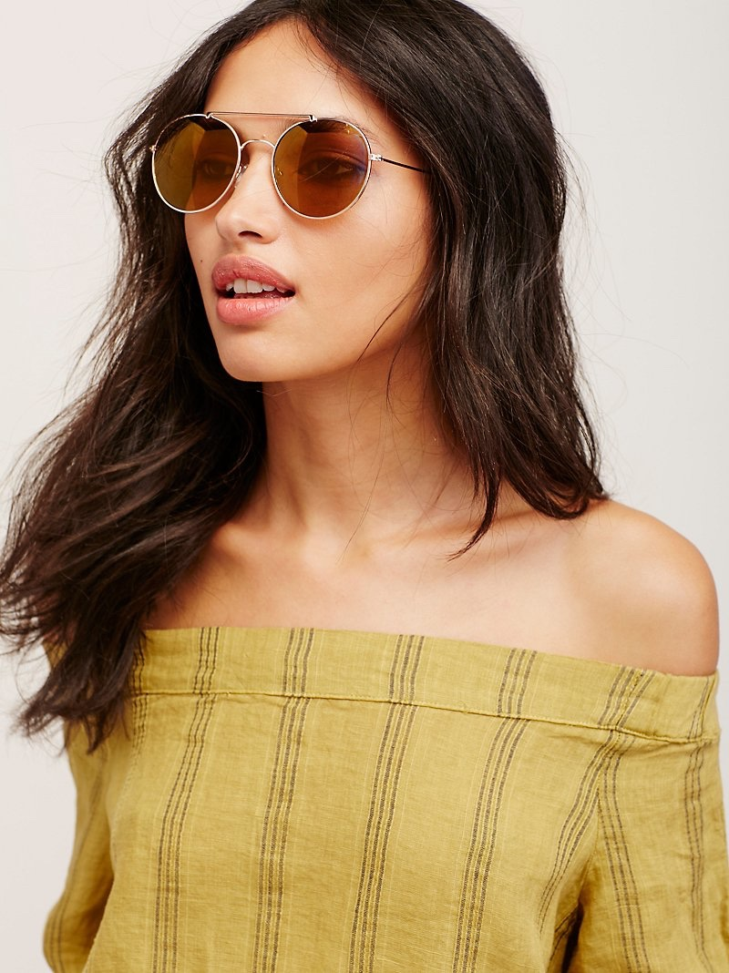 Free People Neptune Metal Aviator Sunglasses