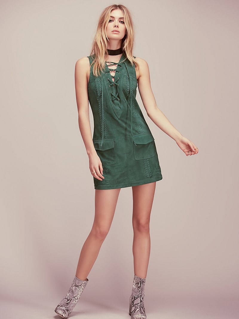 Free People Take Me Home Suede Dress
