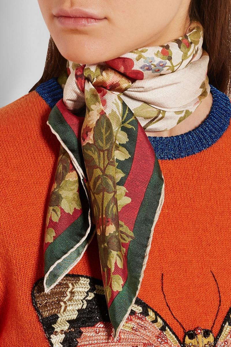 Gucci Adonis Floral Print Silk-Twill Scarf