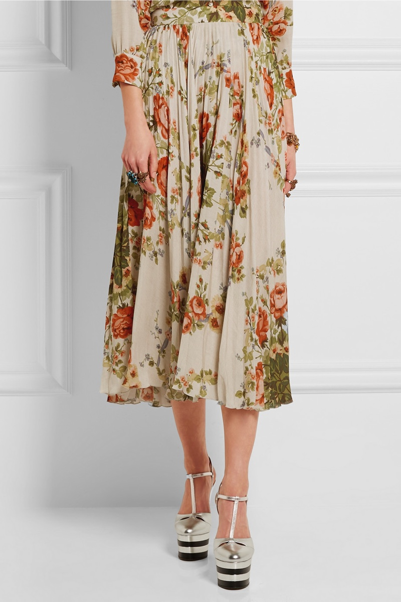 Gucci Floral Print Silk Pleated Skirt