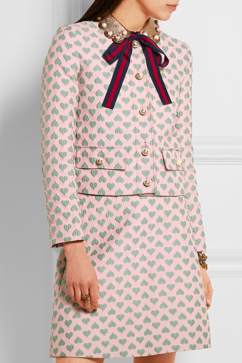 Gucci Heart Print Leather Trim Jacquard Jacket