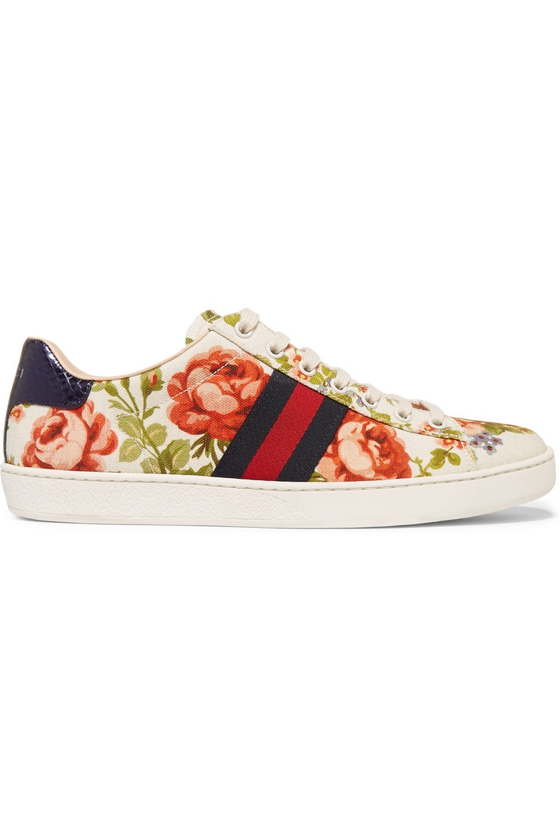 Gucci New Ace Floral Print Textured Sneaker