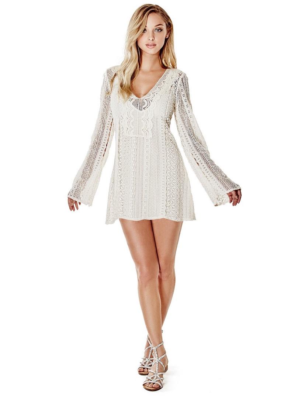 Guess Adalina Long Sleeve Crochet Dress