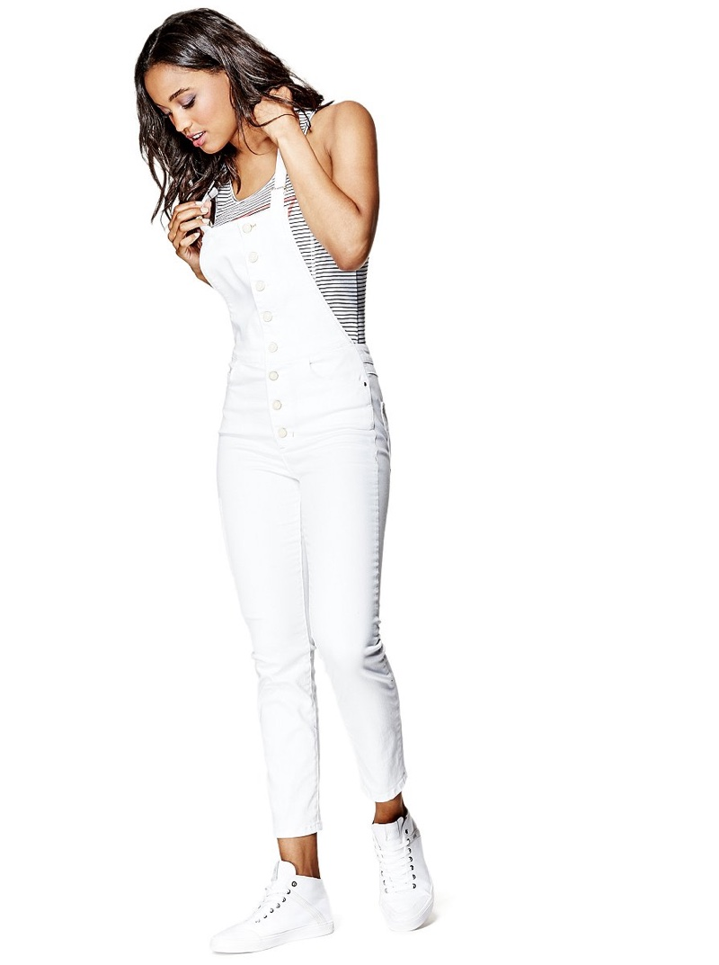 Guess Shayne Ever White Button Down Overalls