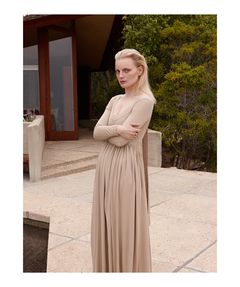 Photographed by Nagi Sakai, Guinevere van Seenus poses in pared down looks