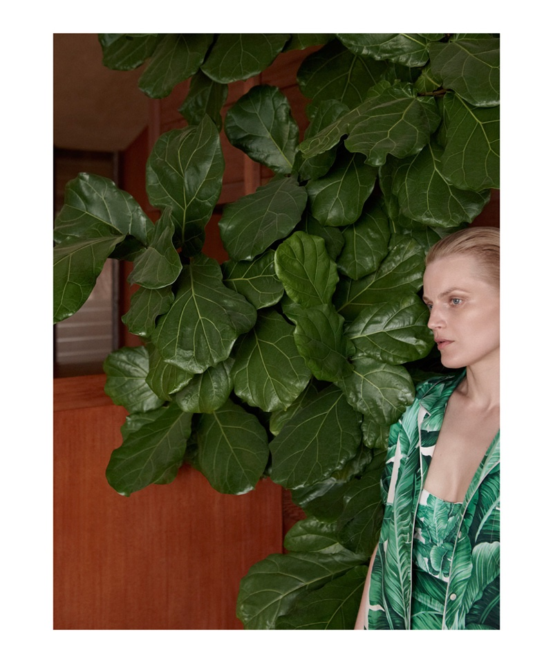 Guinevere van Seenus wears Dolce & Gabbana buttoned-up shirt and top with leaf print