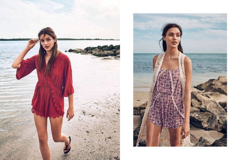 (Left) H&M Romper with Lace Trim and Strappy Sandals (Right) H&M Long Lace Vest and Romper with Lace