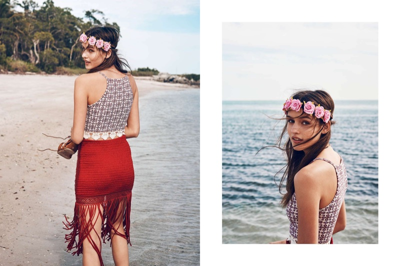 H&M Hairband with Flowers, Lace-Trimmed Short Camisole Top and Jersey Skirt with Fringe (Right) H&M Hairband with Flowers and Lace-Trimmed Short Camisole Top