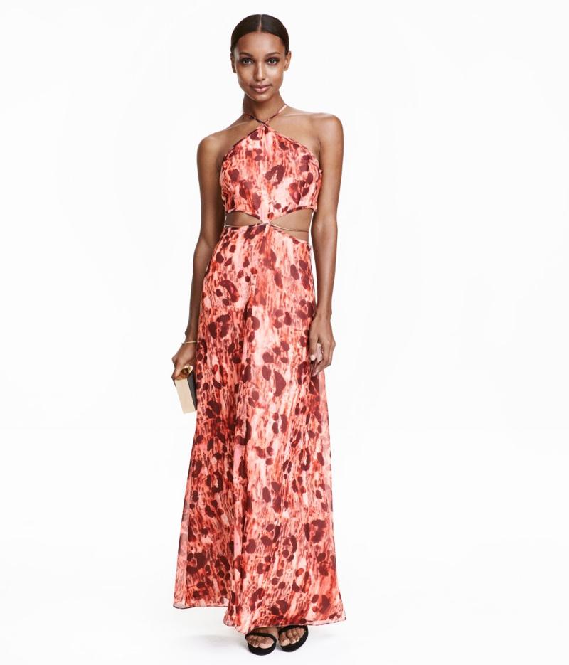 H&M Chiffon Maxi Dress with Cutouts