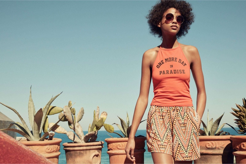 H&M Halterneck Top, Patterned Shorts and Round Sunglasses