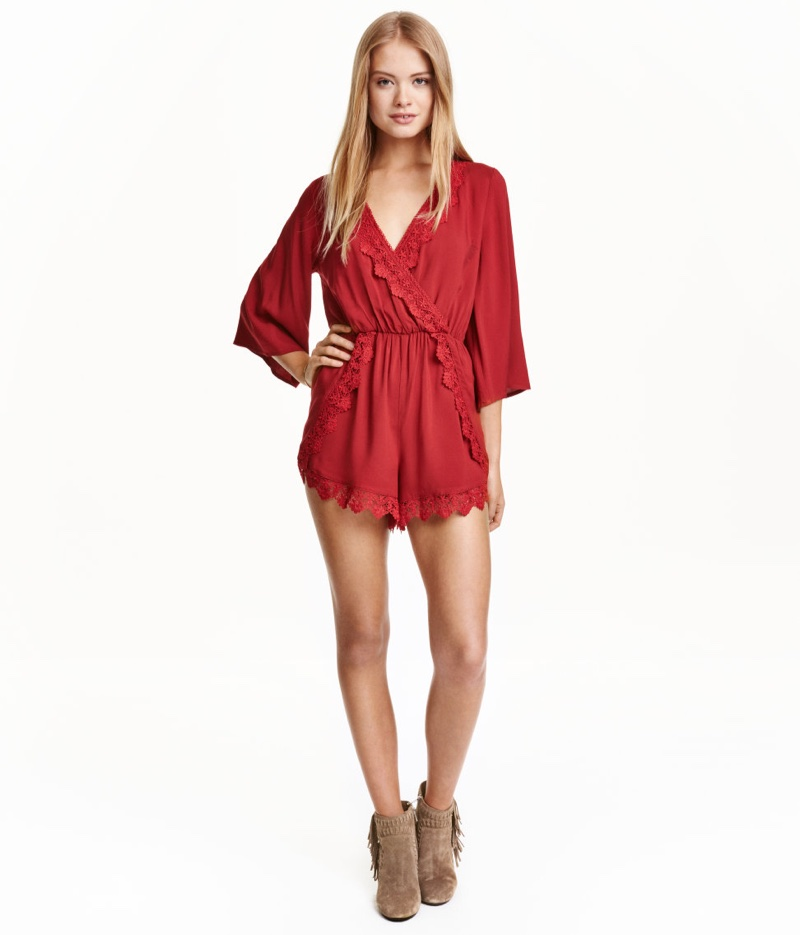 H&M Long-Sleeve Romper with Lace Trim