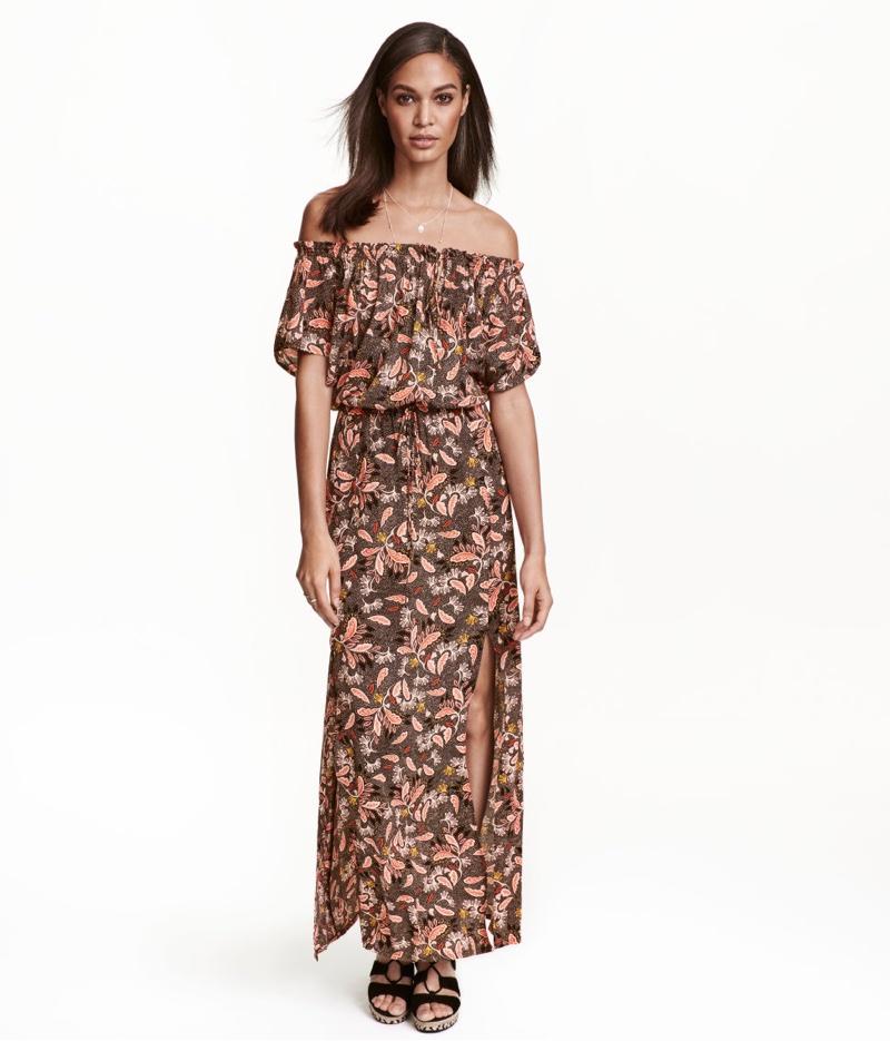 H&M Patterned Off-the-Shoulder Maxi Dress