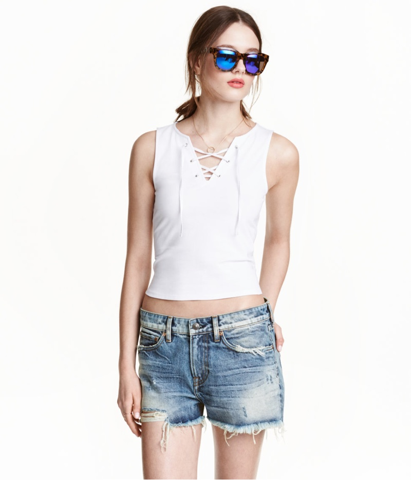H&M Short Tank Top with Lacing