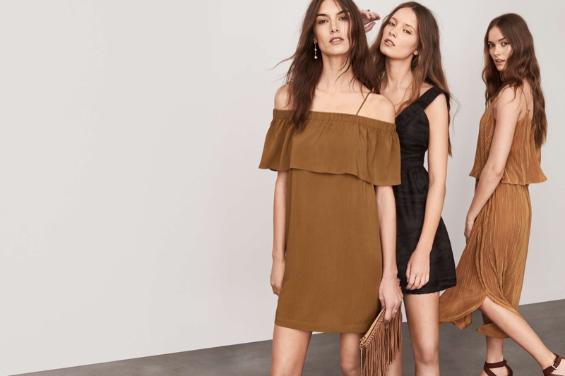 9c86064163dec (Left) H&M Off the Shoulder Dress and Shoulder Bag with Suede Fringe (Middle