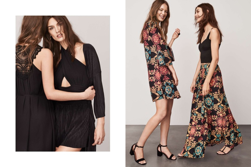 (Left) (Look 1) H&M Chiffon Dress (Look 2) H&M Halterneck Bodysuit, Pleated Shorts and Pleated Kimono (Right)  (Look 1) H&m Patterned Dress (Look 2) H&M Bustier, Patterned Maxi Skirt and Sandals