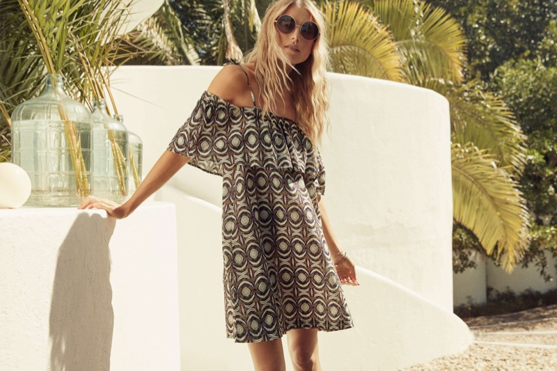 H&M Off-the-Shoulder Dress and Round Sunglasses
