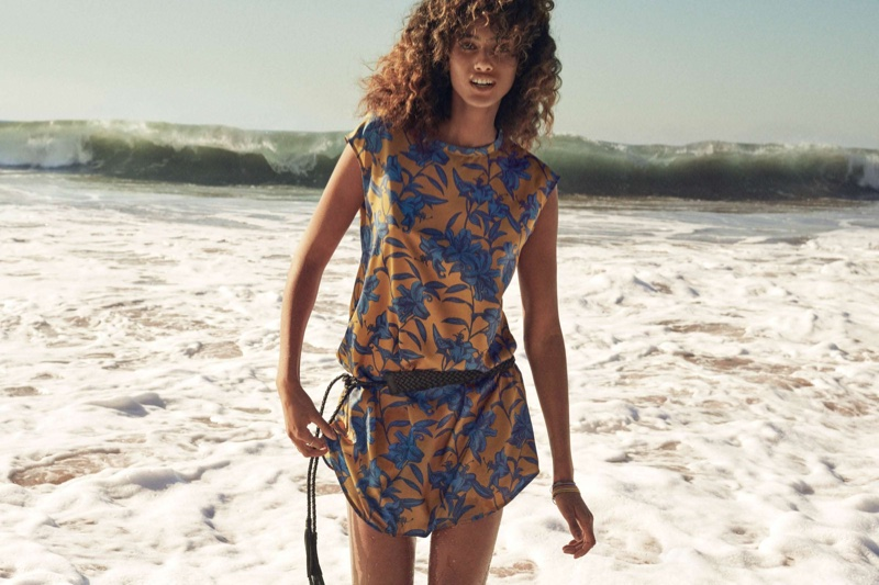 H&M Patterned Dress and Braided Waist Belt