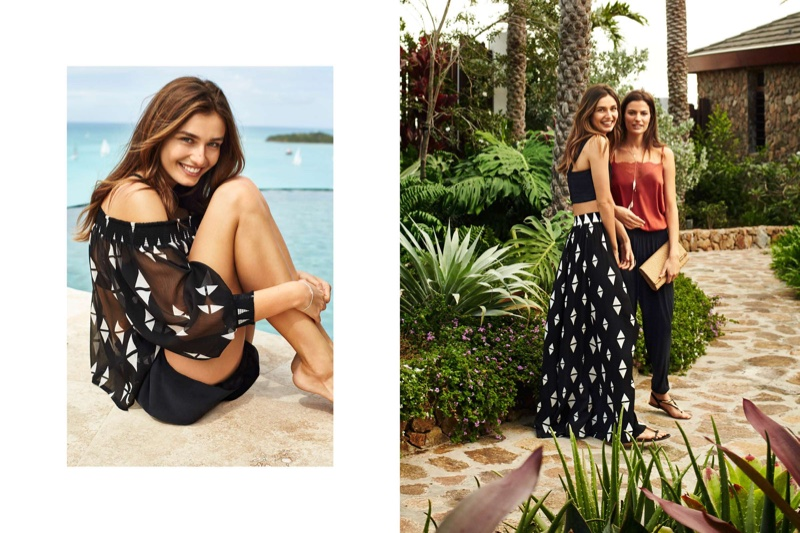 (Left) H&M Off-the-Shoulder Blouse (Right) (On Andreea) H&M Bustier Top, Patterned Maxi Skirt and Sandals (On Cameron) H&M Satin Camisole Top, Harem Pants, Braided Clutch Bag and Sandals