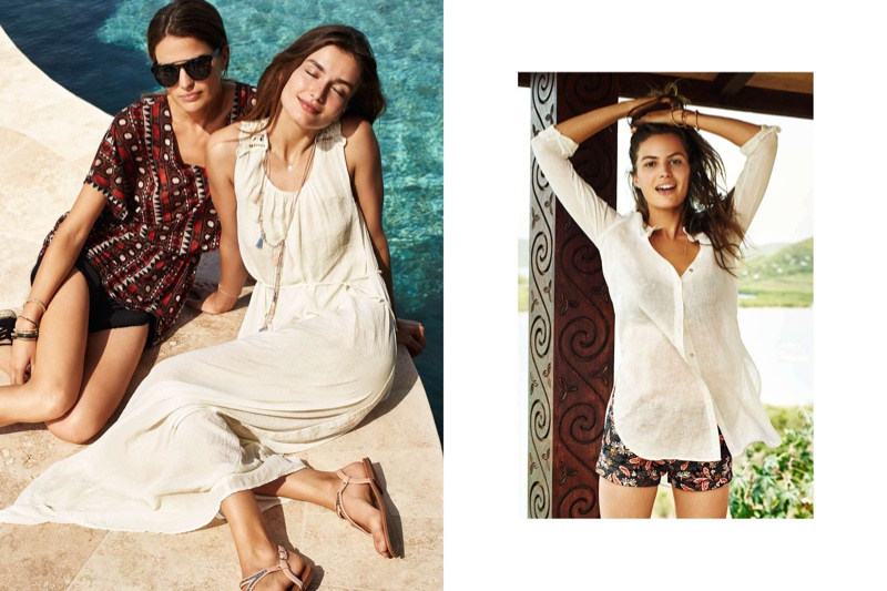 (Left) (On Cameron) H&M Beach Dress and Sunglasses (Left - On Andreea) H&M Maxi Dress, Long Necklace and Sandals (Right) H&M Long Linen Blouse and Twill Shorts
