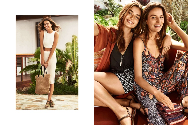 (Left) H&M Rib-Knit Top, Pencil Skirt, Shopper Bag and Espadrilles with Laces (Right - On Andreea) H&M Long Cardigan, Mini Patterned Jersey Skirt and Sandals (On Cameron) H&M Sleeveless Jumpsuit and Straw Clutch Bag)