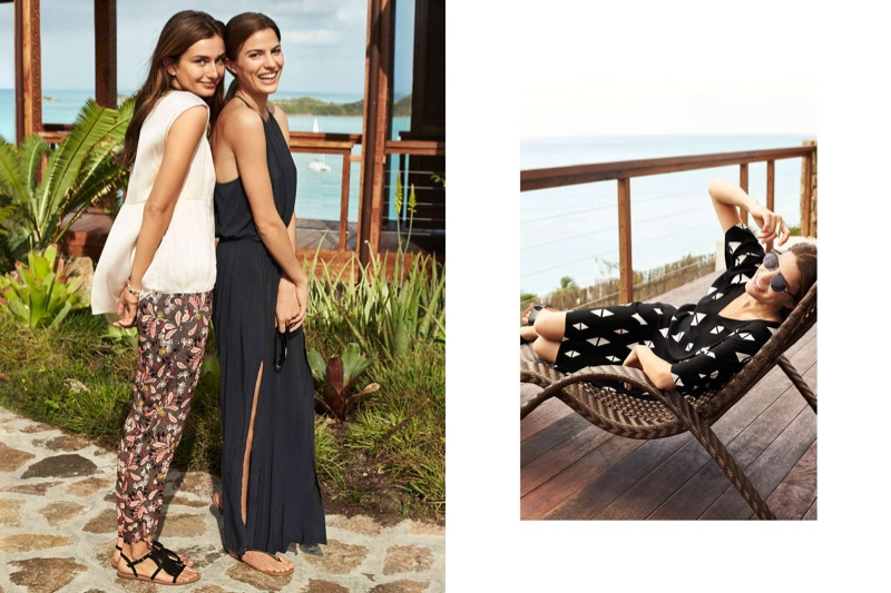 (Left) On Andreea) H&M Airy Blouse, Loose Fit Pants and Sandals with Fringe (Left) (On Cameron) H&M Maxi Dress and Sandals (Right) H&M Patterned Viscose Dress, Sunglasses and Slip-on Sandals