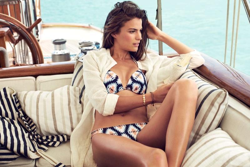 H&M Long Linen Blouse, Push-Up Bikini Top and Bikini Bottoms