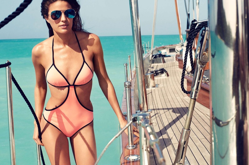 Cameron Russell is Ready for Summer in H&M's Bold Swimsuits