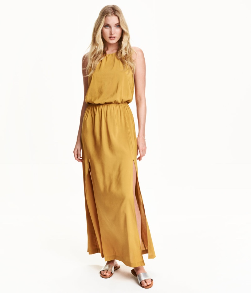 H&M Yellow Maxi Dress with Side Slits