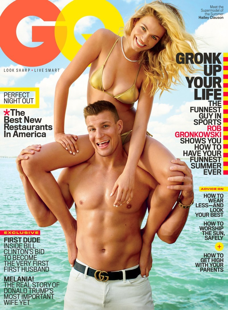 Hailey Clauson and Rob Gronkowski on GQ June 2016 Cover